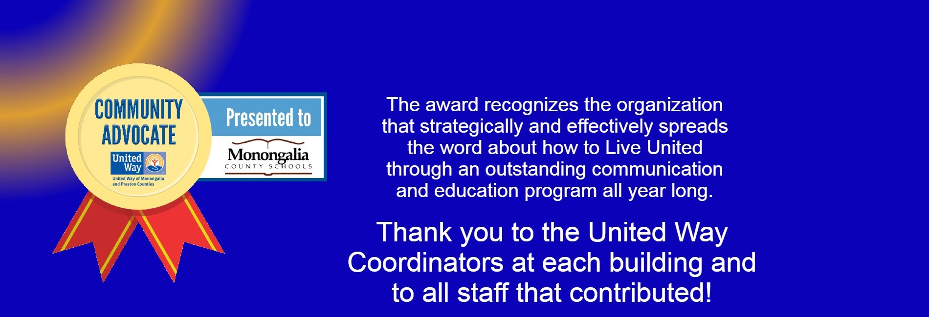 Community Advocate award from United Way 2021